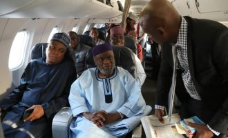 PHOTOS: Surprise as Saraki boards Arik flight to Ghana