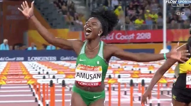 Image result for Amusan makes history as first Nigerian to win 100m hurdles at Commonwealth Games