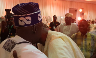 PHOTOS: Tongues wagging as Fashola embraces Tinubu in public