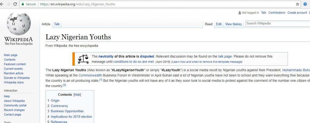 Image result for #LazyNigerianYouths gets Wikipedia page