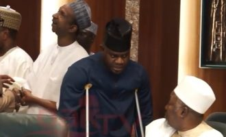 VIDEO: Yahaya Bello on crutches