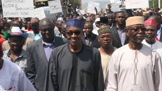 Image result for Buhari 'to lead' 1m Nigerians for 'democracy walk'