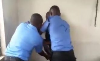 VIDEO: Aggrieved policemen violently disarm NSCDC official
