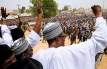 VIDEO: Massive crowd welcomes Buhari to Jigawa