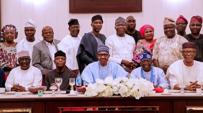 Image result for Buhari dines with Tinubu, Oyegun at Aso Rock