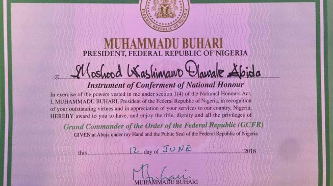 Buhari formally confers GCFR on Abiola