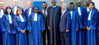 PHOTOS: Buhari meets judges at ICC