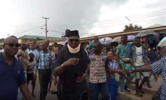 VIDEO: Fayose makes first public appearance after guber poll