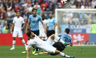 PHOTOS: France edge Uruguay out of World Cup