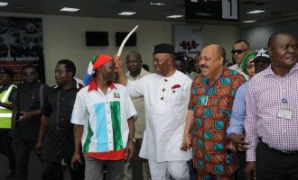'Some of them took tramadol', 'Ben Bruce believes in lies' – Akpabio tackles PDP lawmakers at APC rally