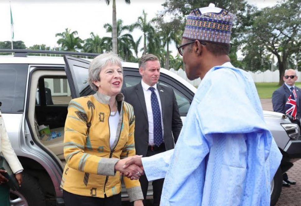 Buhari hosts Theresa May at presidential villa