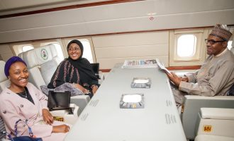 PHOTOS: Buhari off to China with wife, daughter