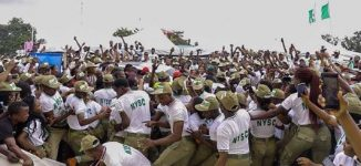 PHOTOS: Uproar as Davido is sworn in at Lagos NYSC camp