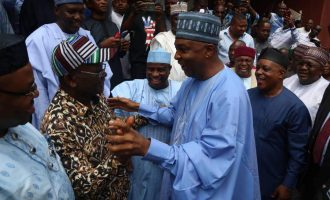 PHOTOS: Saraki leads former APC governors to PDP NEC meeting