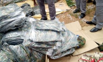 Again, customs intercepts container laden with military uniforms