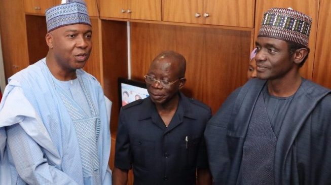 Oshiomhole dares Saraki to name anyone he collected bribe from