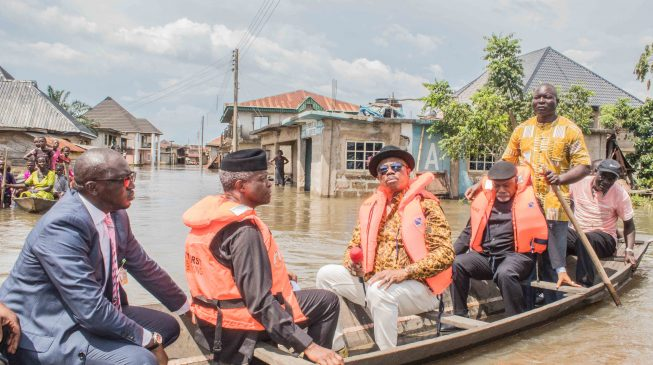 Image result for Osinbajo visits flood ravaged communities in Anambra