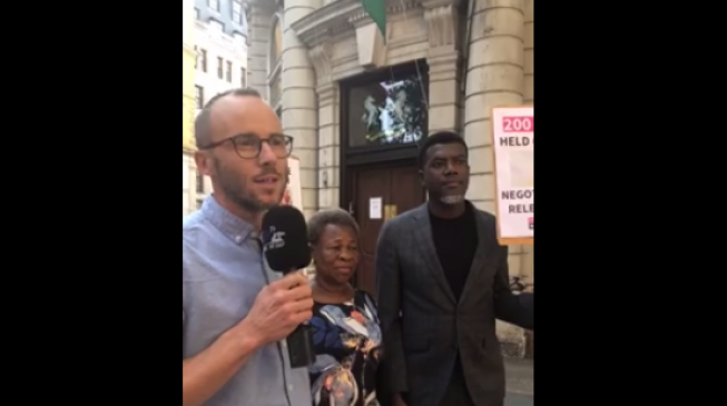 VIDEO: Protesters storm high commission of Nigeria in London to demand release of Leah Sharibu