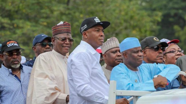 DEVELOPING: Saraki, Dogara lead protesters to INEC headquarters over Osun poll