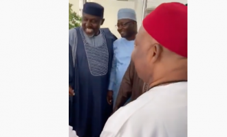 VIDEO: 'I don catch you na' — Uzodinma exchanges banter with Okorocha