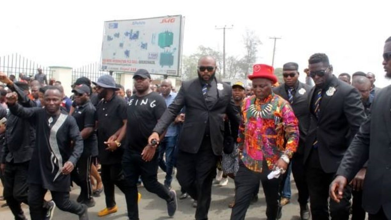 Image result for 'My father told me supreme court makes mistakes' — Charly Boy leads protest against Ihedioha's sack