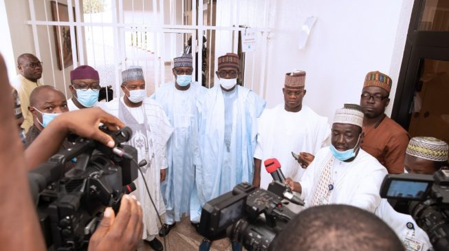 PHOTOS: Yahaya Bello refuses to wear face mask after meeting with Buhari